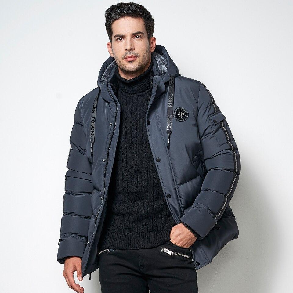 High Quality Designer Men Winter Brand Warm Fleece Jacket   Parka   Coat Men Windbreaker Casual Thick Thermal Hooded Coat   Parka   Mele