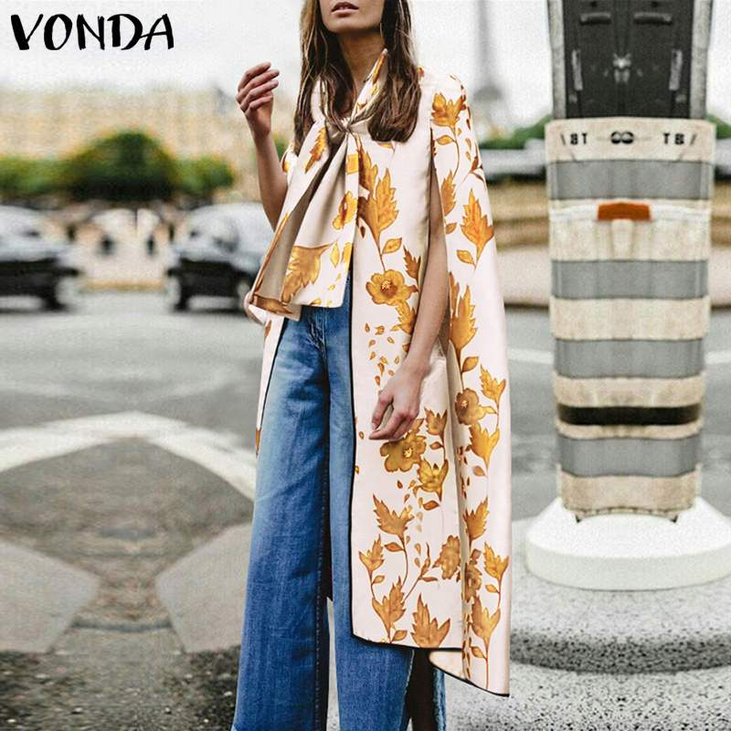 VONDA S-5XL Women   Blouses   Bow Cloak Vintage Floarl Printed Long   Blouse     Shirts   Casual Tops Tees 2019 Summer Sexy Plus Size Blusas