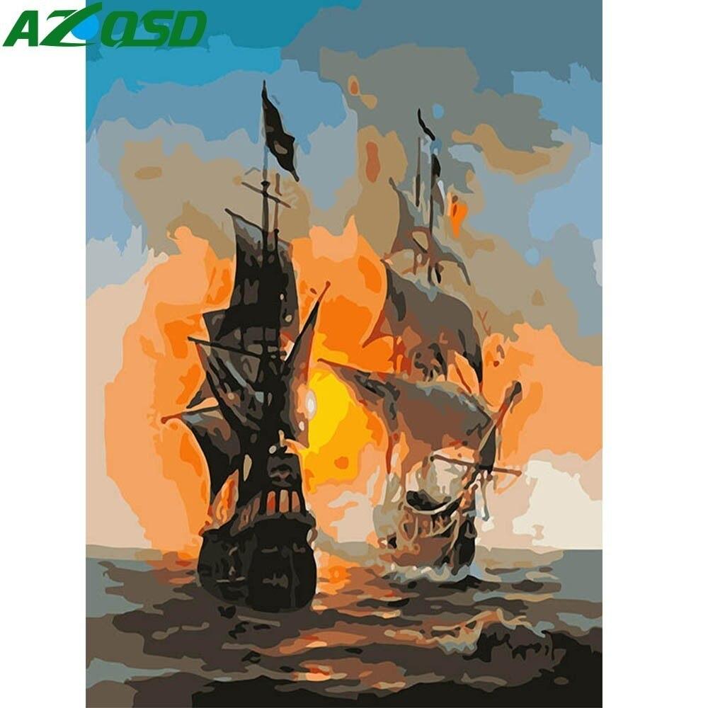 AZQSD DIY Ölgemälde Segelboot Malerei Durch Zahlen Schiff Home Decor Farbe Leinwand Bild Hand Gemalt Moderne K182