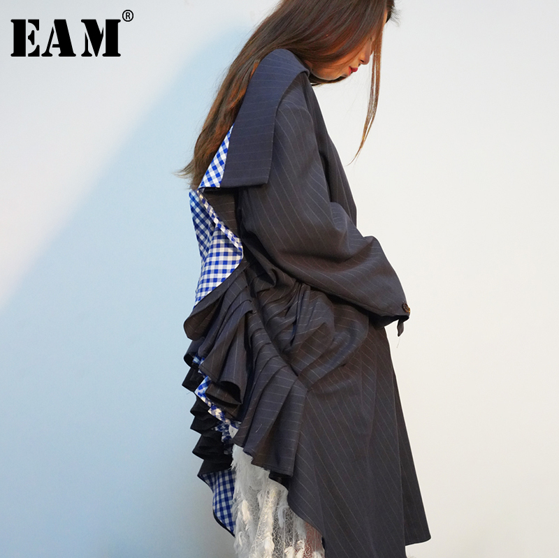 [EAM] 2019 New Spring Summer Long Backless Plaid Printed Ruffles Big Size Striped Printed Shirt Women Blouse Fashion Tide JQ371