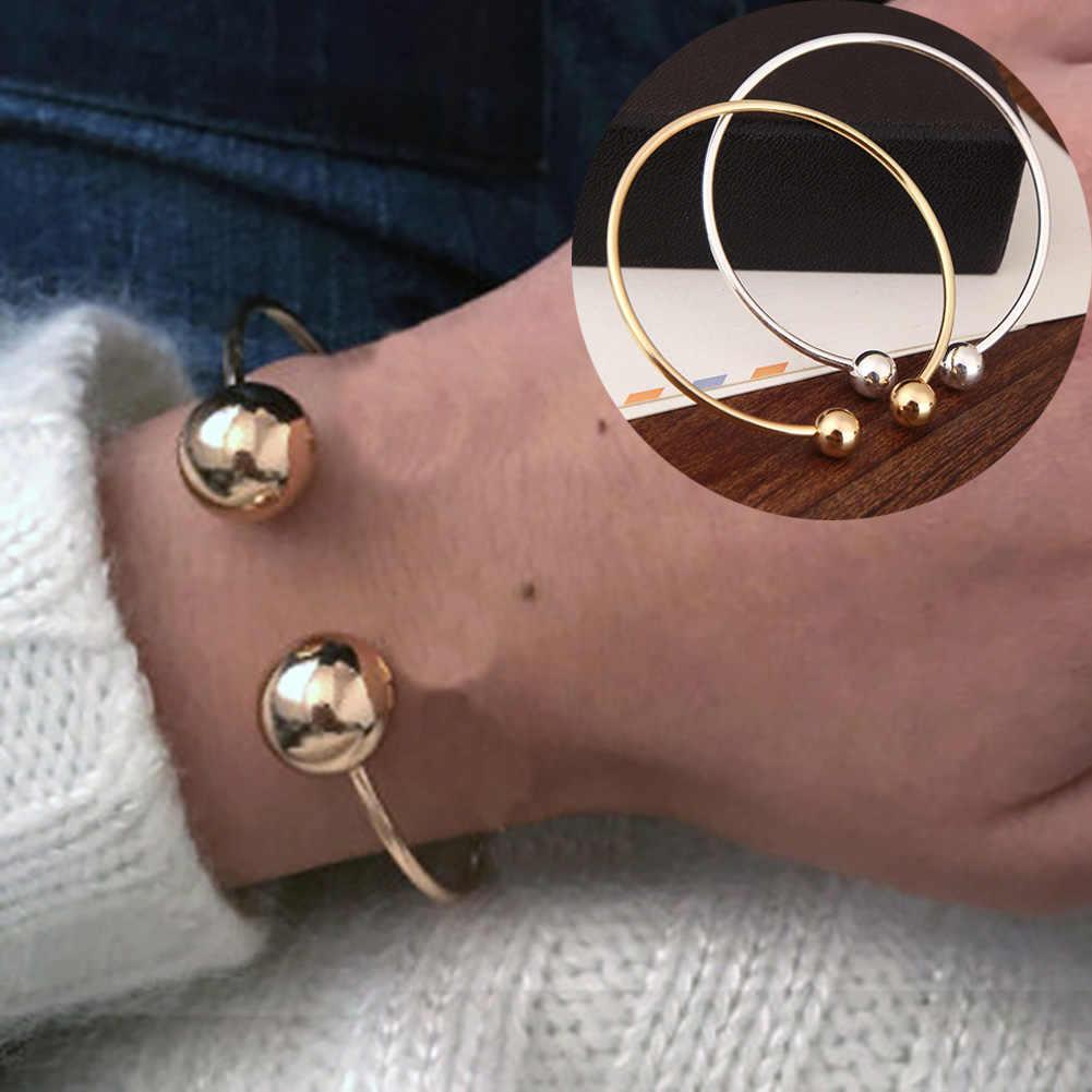 Простой трендовый Круглый Золотой Серебряный открывающая манжета браслеты медный сплав Круглые браслеты темпераментные аксессуары ювелирные изделия для женщин Подарки