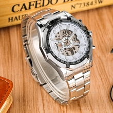 WINNER Sports Automatic Watch Man Round Dial Skeleton Mechanical Watches Full Stainless Steel Band Clock Male Relogio Masculino стоимость