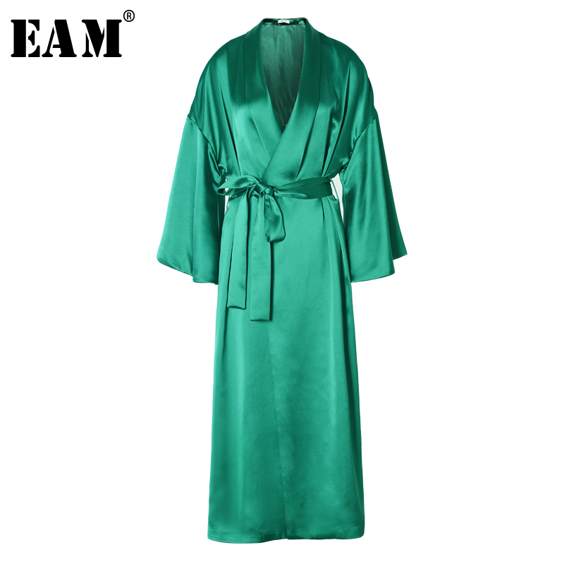 EAM High Quality 2019 Spring Loose Casual Trumpet Sleeves Waist Lace Up Solid Color Long