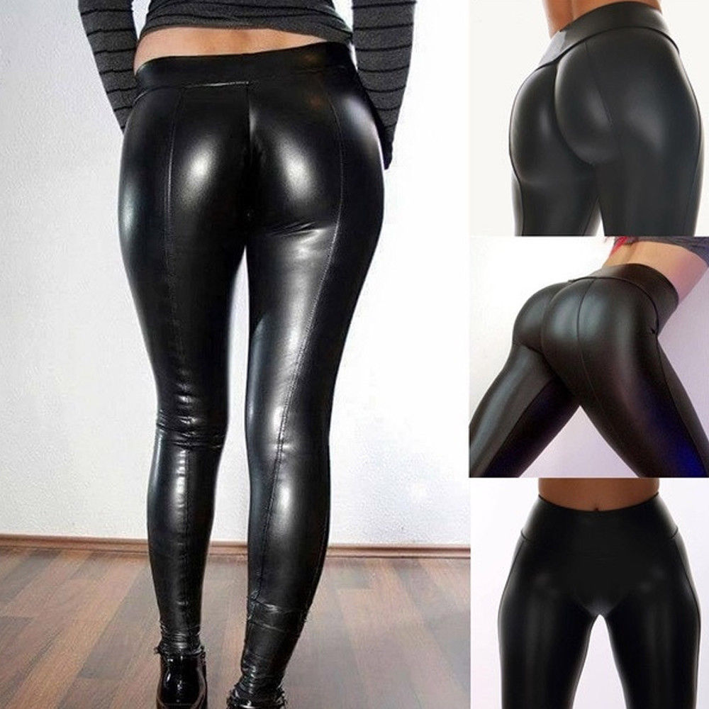 Hirigin Hot 2019 Newest Black PU Legging Shiny Bling Faux Patent Leather Stretch Elastic Leggings Wet Look PVC Pants image
