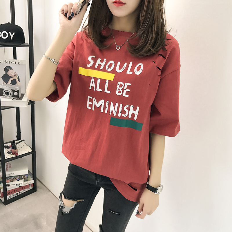 XL- 4XL 2019 new plus size summer loose High Street hole Letter print short sleeve O-Neck women T-shirt top tee TY5 4