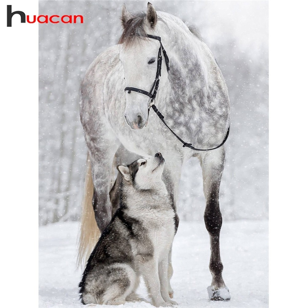 Huacan Cavalo Pintura Diamante DIY Diamantes Bordados Cães Venda Animais Strass Completo Broca Quadrado Diamante Mosaic Pictures