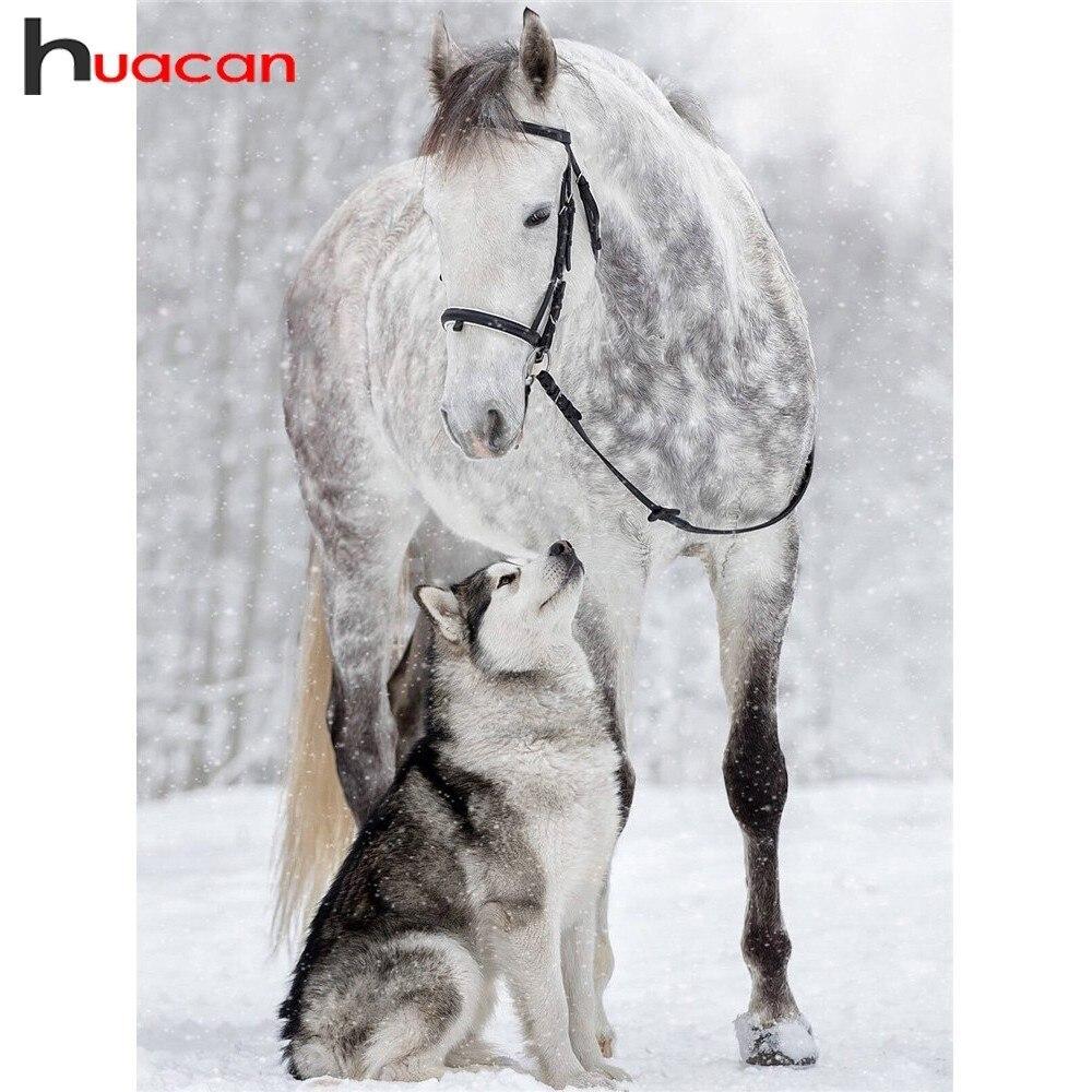 Huacan bricolage diamant peinture cheval diamants broderie chiens diamant mosaïque vente plein forage carré animaux strass photos