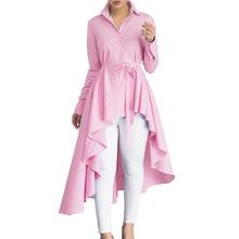 Plus Size Striped High Low Hem Shirt Women Clothing Long Sleeve Asymmetrical Cotton Loose Tops Blusas Shirts Women 2019 plus twist hem striped tee