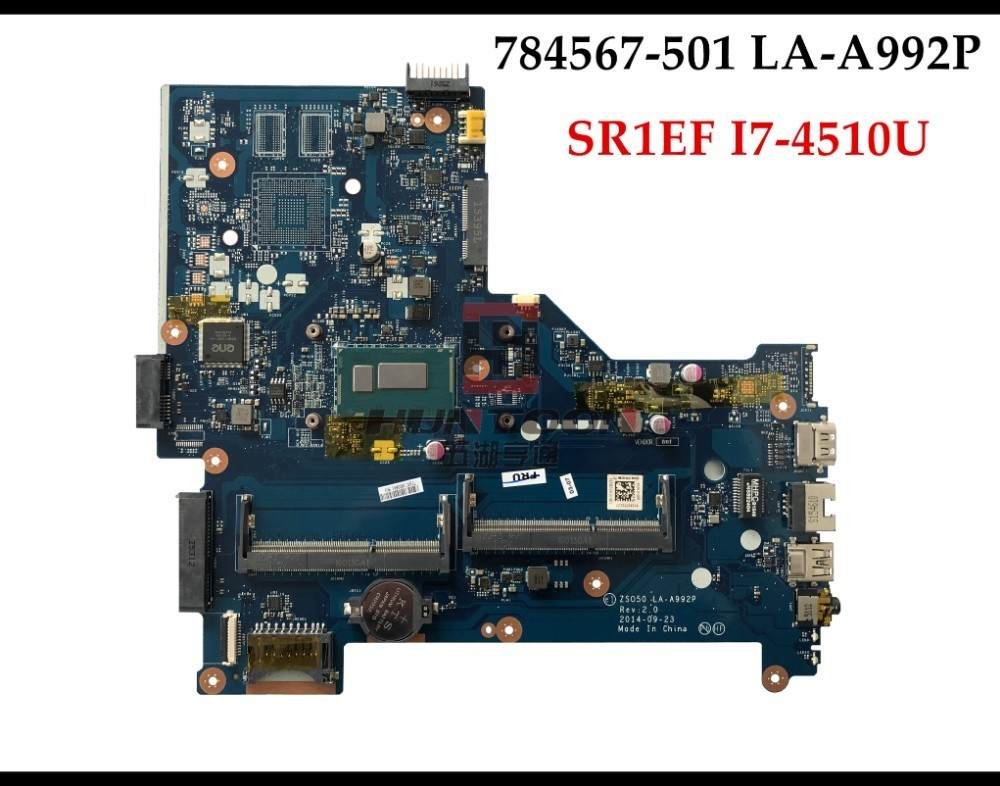 High quality 784567 501 for HP Pavilion 15 R laptop motherboard ZSO50 LA A992P SR1EB I7