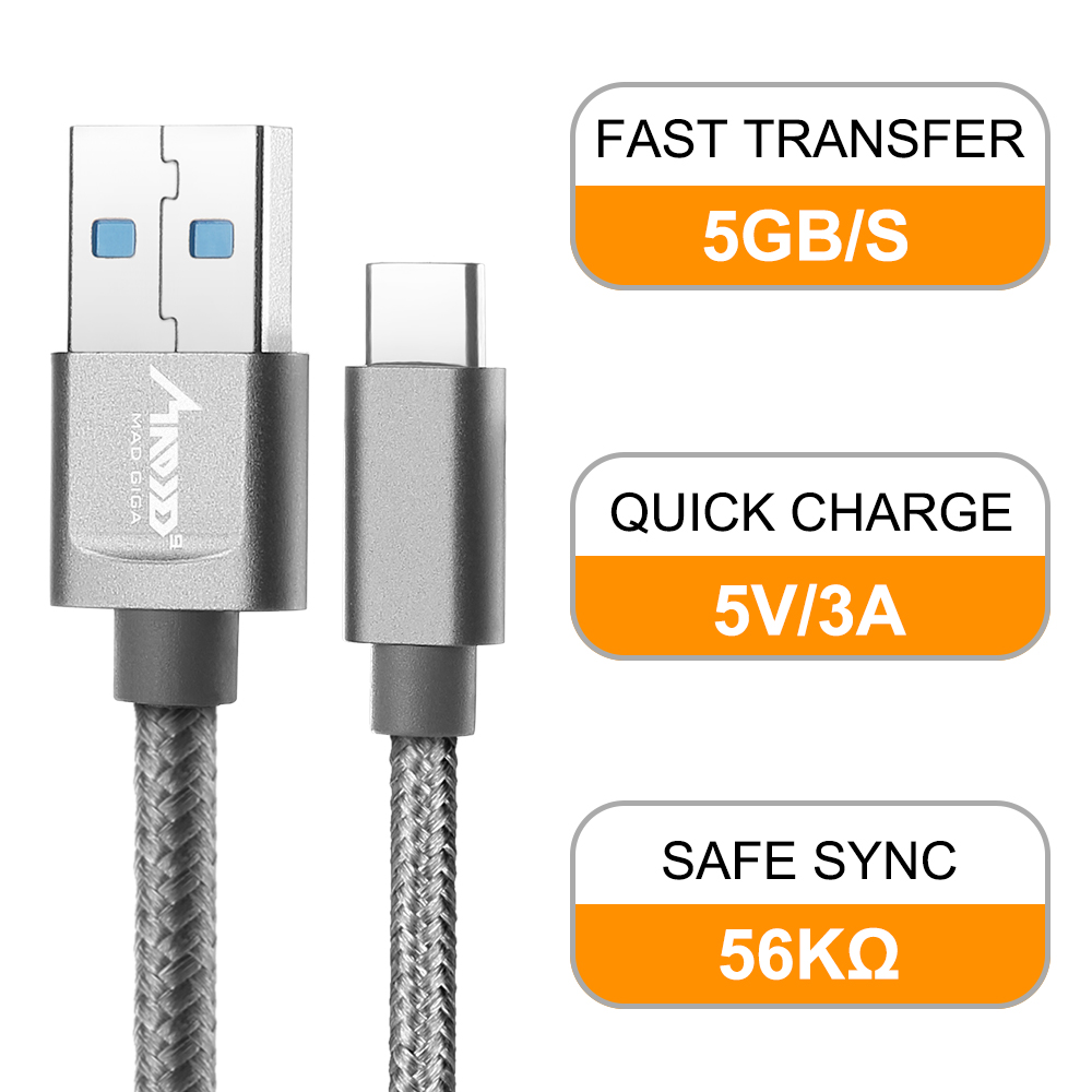 MAD GIGA USB Type C Cable, 2M Fast Charging Data Cable for Samsung Galaxy S8, S8 Plus, Huawei MateBook, 2M Charger Cord Set of 2