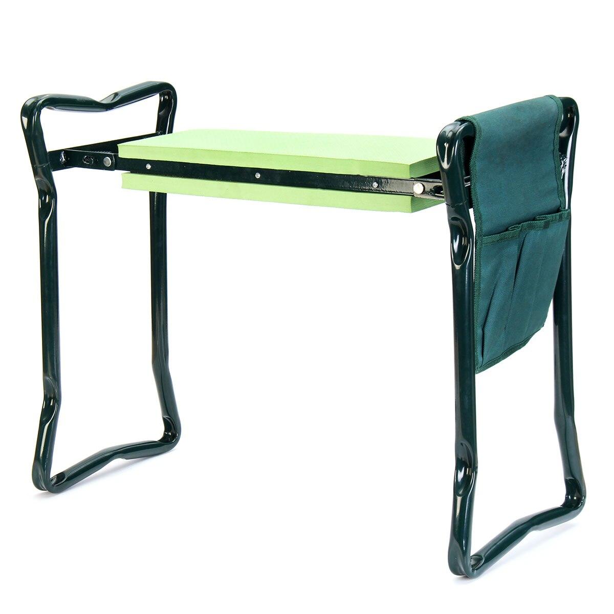 Genouillère de jardin avec poignées pliantes tabouret de jardin en acier inoxydable avec coussin à genoux EVA chaise de jardinage