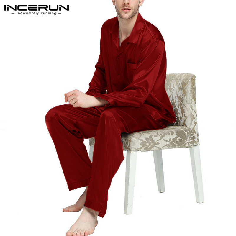 INCERUN Pants Sleepwear Pajamas-Set Leisure-Nightgown-Set Satin Silk Solid Soft Comfy