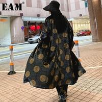 [EAM] 2019 New Spring Summer Lapel Long Sleeve Black Dot Printed Big Size Velvet Windbreaker Women Trench Fashion Tide JS155