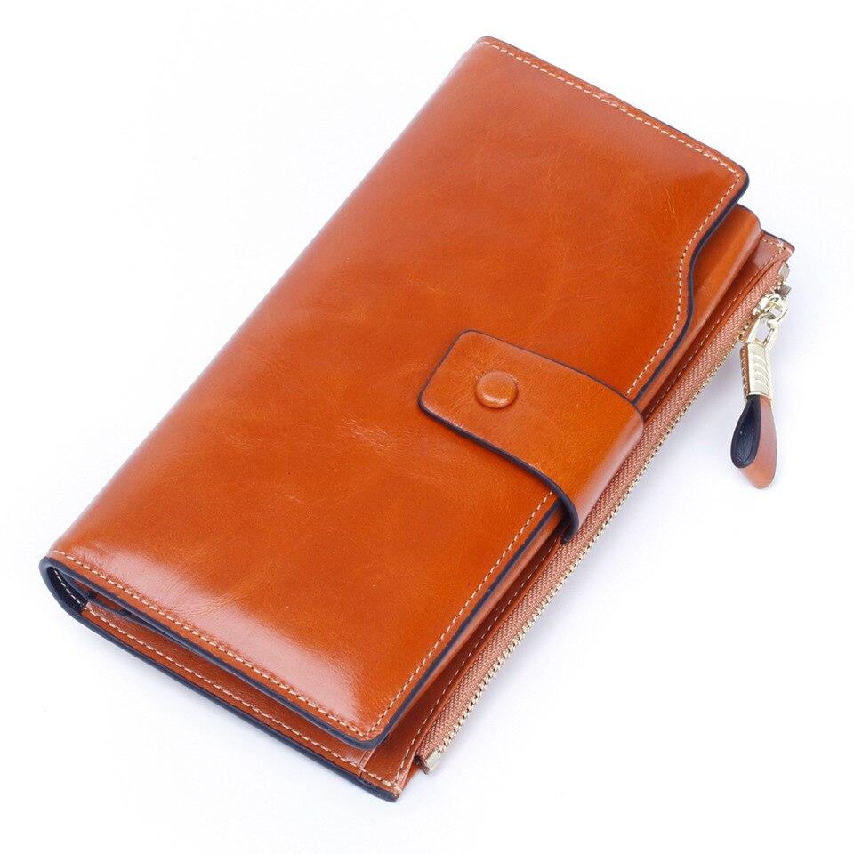 Portefeuille antimagnétique Rfid en cuir véritable pour femme portefeuille haute qualité huile de cire Multi carte Position sac à main pour femme porte-cartes de crédit pour femme