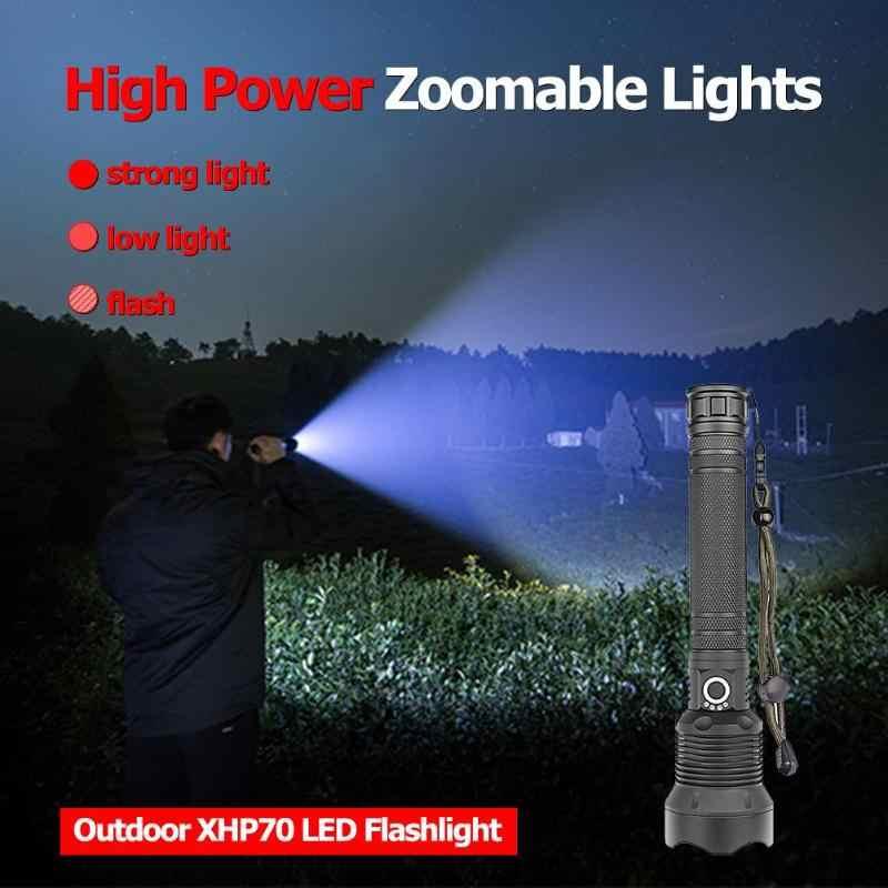 50000 lumens Lâmpada xhp70 mais poderosa lanterna USB Zoom LED torch xhp70 xhp50 18650 ou 26650 bateria Melhor Camping, ao ar livre