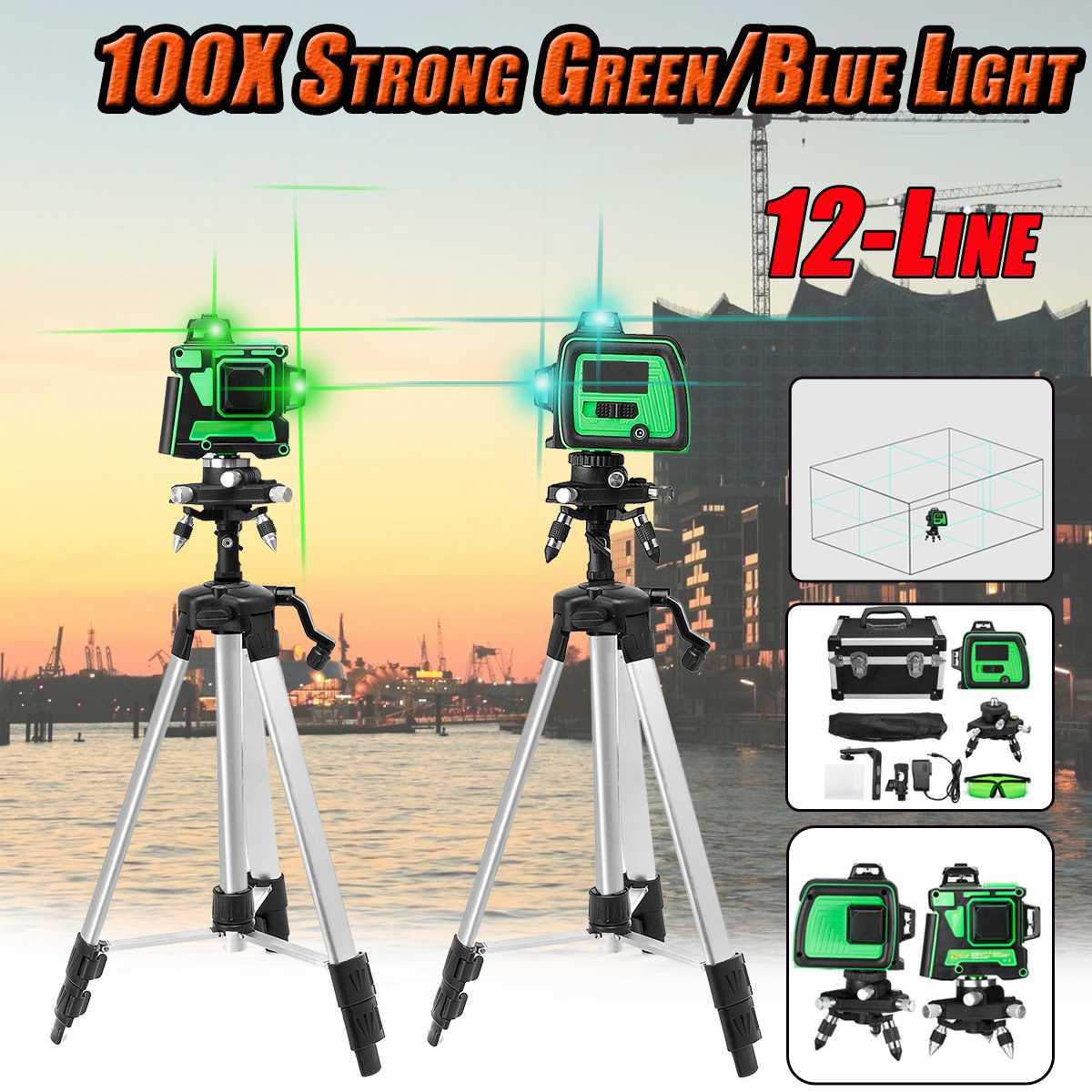 Linha 12 100X Forte Verde/Azul Luz 3D Medir o Nível Do Laser Auto Nivelamento 360 Modo Horizontal Vertical Cruz Ao Ar Livre w/Tripé