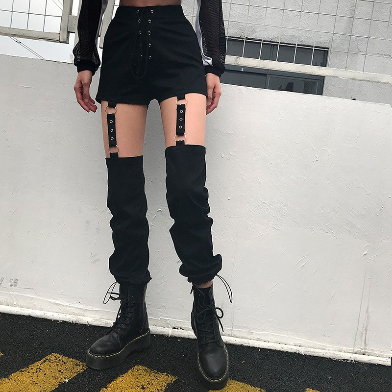 Black Harajuku Pencil Pants Women Detachable Sexy High Waist Trousers Tie Up Casual Streetwear Sweatpants