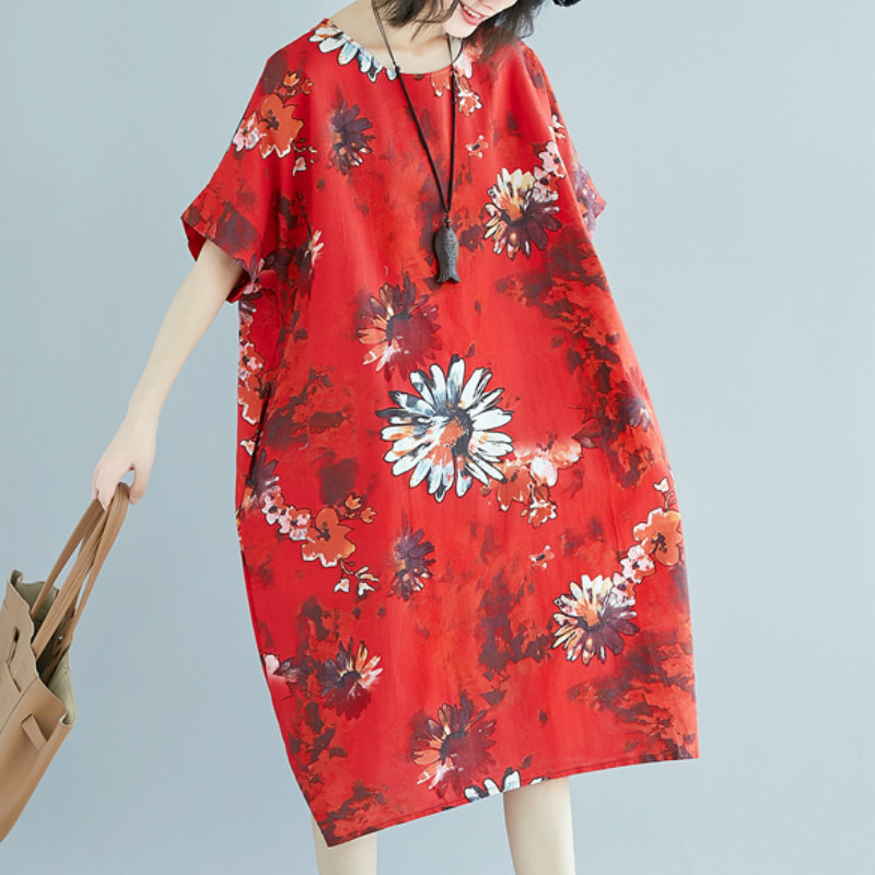 Women Floral Boho Loose Dress Ladies Summer Round Neck Baggy Chinese Style Dress Oversized