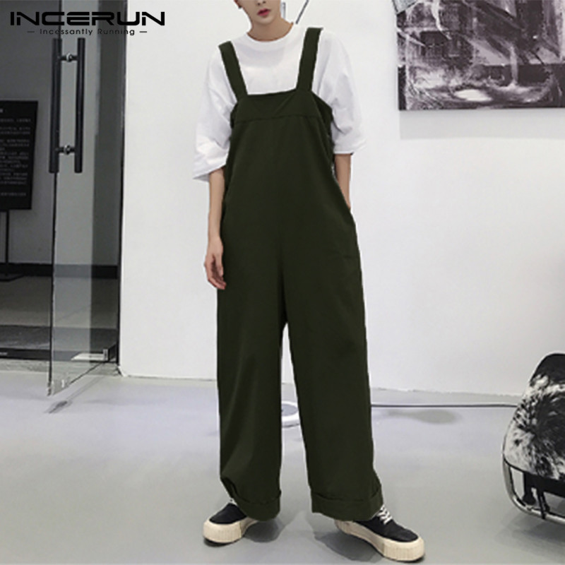 INCERUN 2019 Streetwear Men Romper Wide Leg <font><b>Jumpsuit</b></font> Strap Loose Pants Solid Color Suspenders Fashion Men Casual Overalls <font><b>Hombre</b></font> image