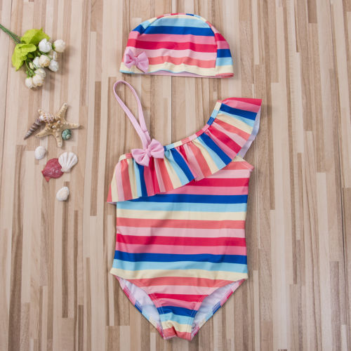 0b9047793e New Cute Kids Baby Girl Tutu Rainbow Striped Swim Romper Skew Collar  Bowknot Swimwear Ruffle Beachwear Swimsuit