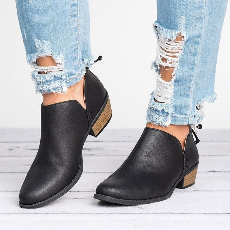 Spring Autumn Women Butterfly-knot Chelsea Boots Slip-On Med High Heels Pointed Toe Shoes Woman 3
