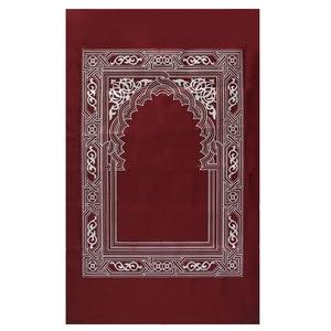 Image 3 - 100x60cm Red Portable Prayer Rug Kneeling Poly Mat for Muslim Islam Waterproof Prayer Mat Carpet