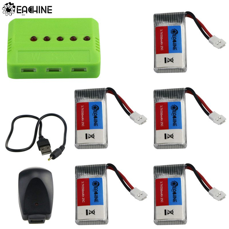 Original Eachine E016H RC Quadcopter Spare Parts 5Pcs <font><b>3.7V</b></font> <font><b>350mAh</b></font> Rechargeable <font><b>Lipo</b></font> <font><b>Battery</b></font> with 5-in-1 Charger Adapter image