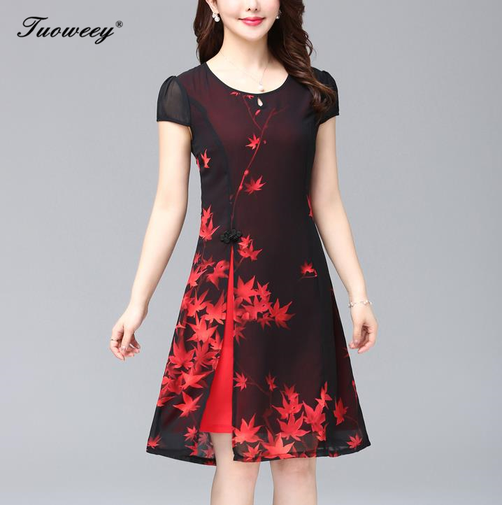 Summer New <font><b>Red</b></font> <font><b>Sexy</b></font> Qipao Cheongsam Lady <font><b>dress</b></font> Casual Print Floral O-neck Oversized Rayon Chinese <font><b>Dress</b></font> Slim Vestidos XL-5XL image