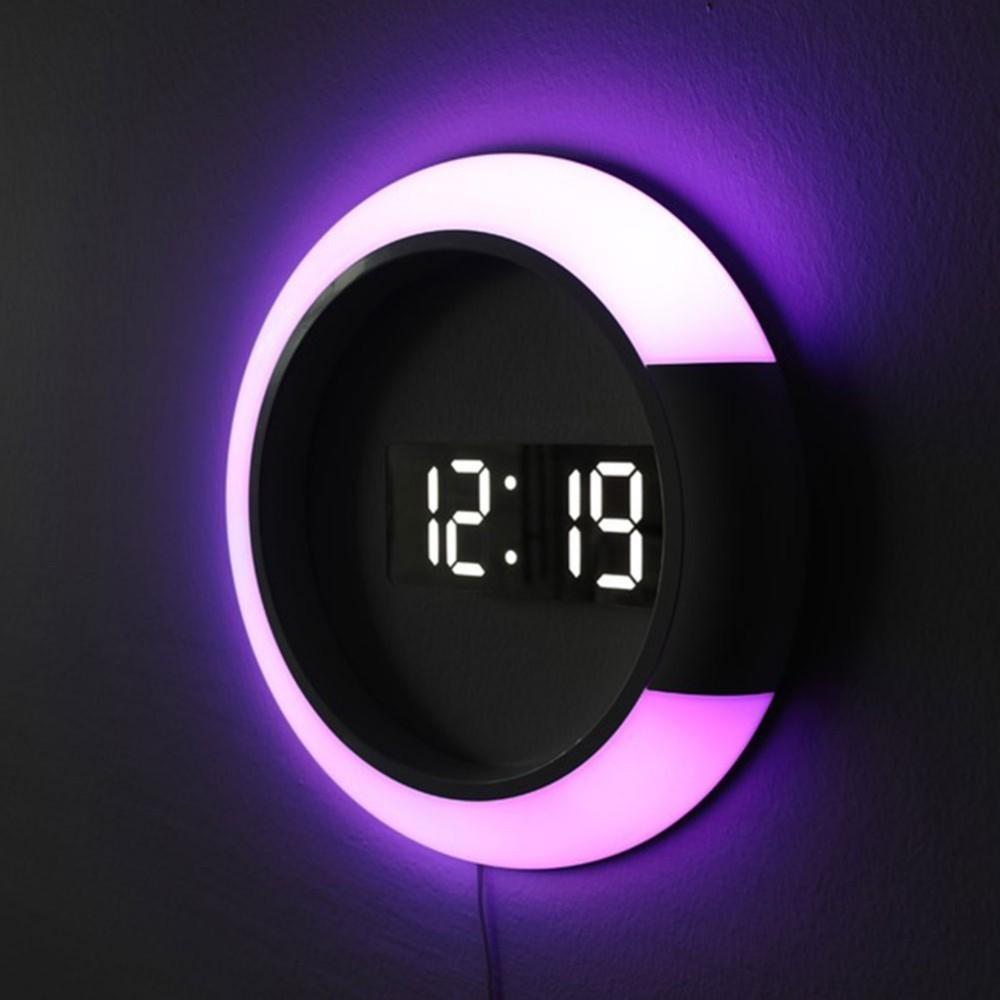 LED Mirror Hollow Wall Clocks Home Decor Multi function Alarm Temperature Ring Light 4 Colors Digital Wall Clock