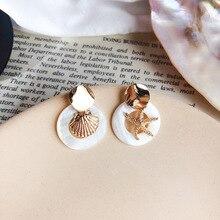 Boho jewelry Gold Seastar Shell Pearl Earrings Starfish drop Earrings Beach dangle Earrings Jewelry For Women Girls смеситель для кухни migliore team ml cuc 6982 бронза ml cuc 6982 br