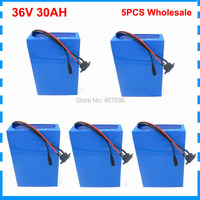 5PCS Wholesale 1500W 36V 30AH E bike Battery 36 V Lithium ion Battery Conversion Kit With 50A BMS 42V 3A Charger 26650 Cell|Electric Bicycle Battery|   -