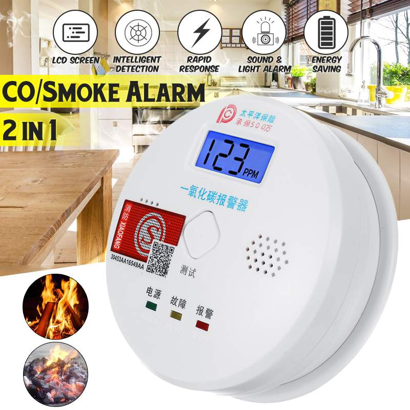 Smart CO Gas Smoke Sensor Detector Carbon Monoxide Poisoning Alarm Detector LCD 80dB Warning High Sensitive