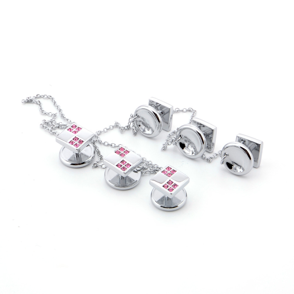 6pcs Mens Metal Shirt Cufflinks Studs Set Silver Color Tuxedo Cuff links & with Chian Wedding Party Gifts for Groom