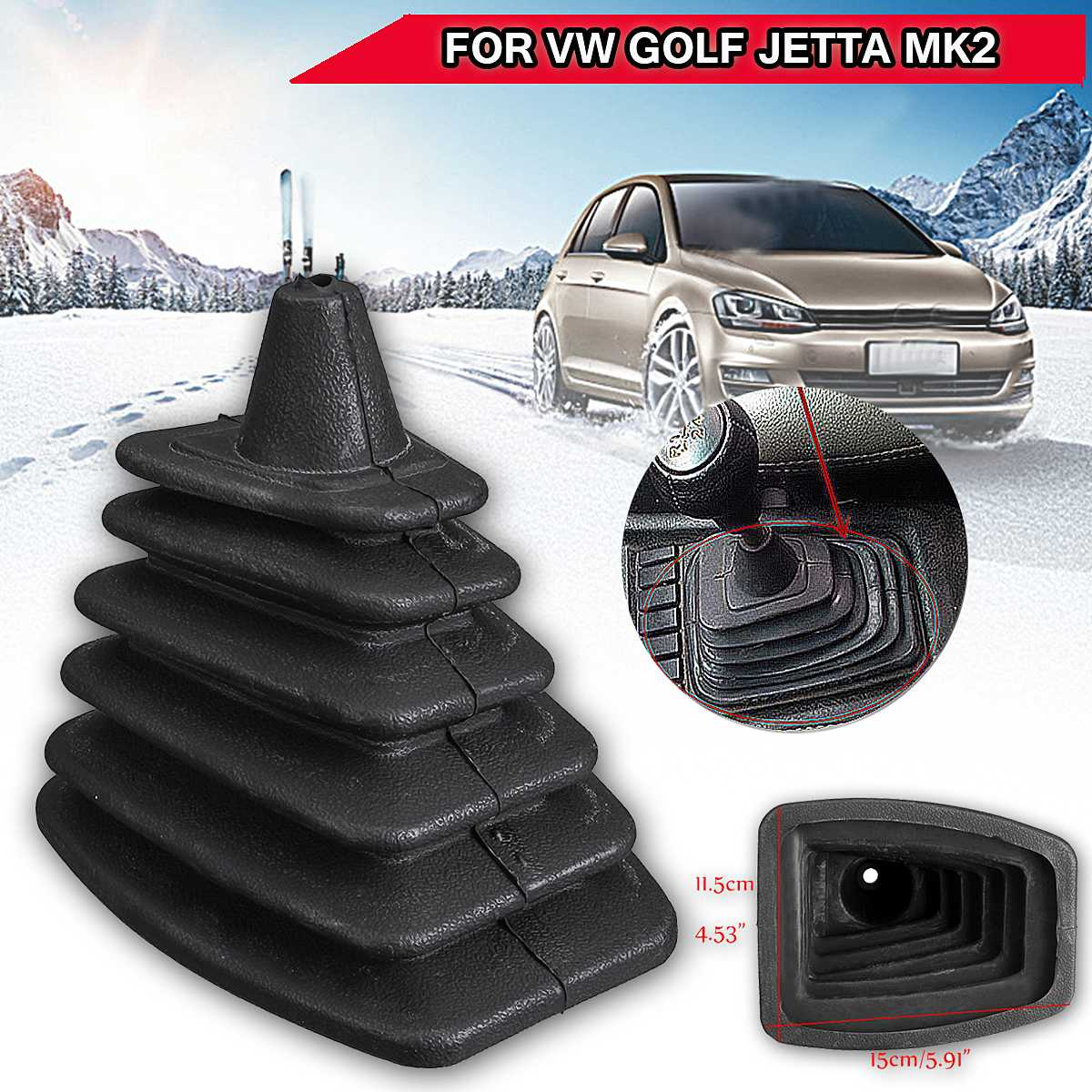Car Gear Shift Collar Gaiter Boot Cover Soft Rubber Dustproof Soft Cover for Volkswagen for <font><b>VW</b></font> <font><b>GOLF</b></font> MK2 II JETTA II image