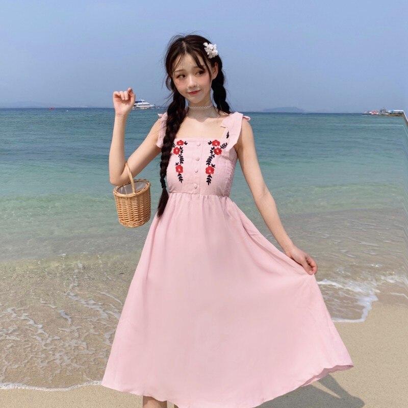 f693847bad Cheap Las mujeres Blanco Rosa bordado Floral vestido bohemio de verano  dulce playa vestidos de