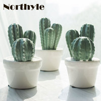 Northyle modern ceramic cactus plants figurine fairy garden miniatures porcelain cactus craft decoration figurin ornaments