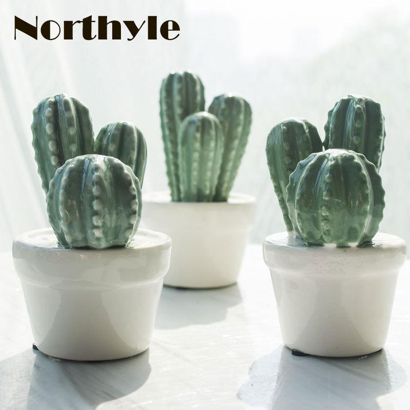 Northyle modern ceramic cactus plants figurine fairy garden - Home Decor