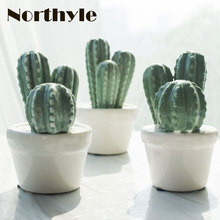 Genuine Dream house DH BS179258 Ceramic potted cactus fairy garden miniatures porcelain craft decoration figurine