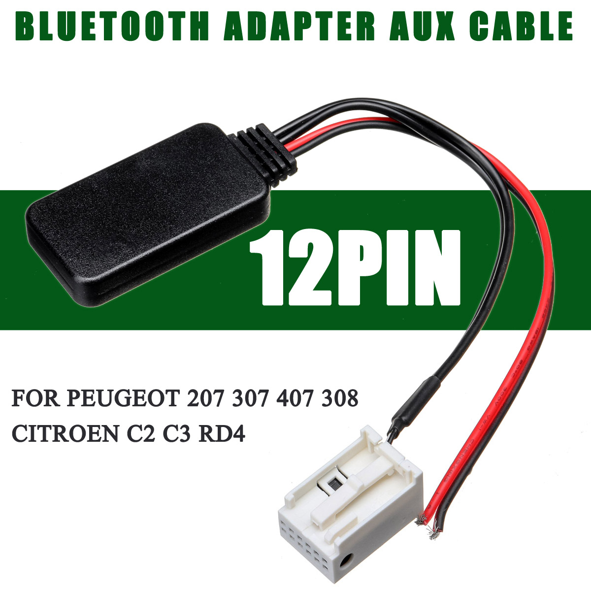 12V <font><b>bluetooth</b></font> Wireless Radio Audio Stereo AUX-IN Module Aux Cable <font><b>Adapter</b></font> For <font><b>Peugeot</b></font> 207 307 <font><b>407</b></font> 308 For Citroen C2 C3 RD4 image