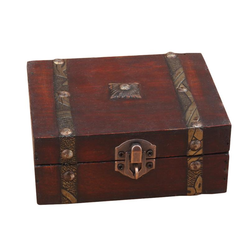 Stylish Vintage Metal Lock Decorative Trinket Jewelry Storage Box Handmade Classical Wooden Treasure Case Storage Box Organizer