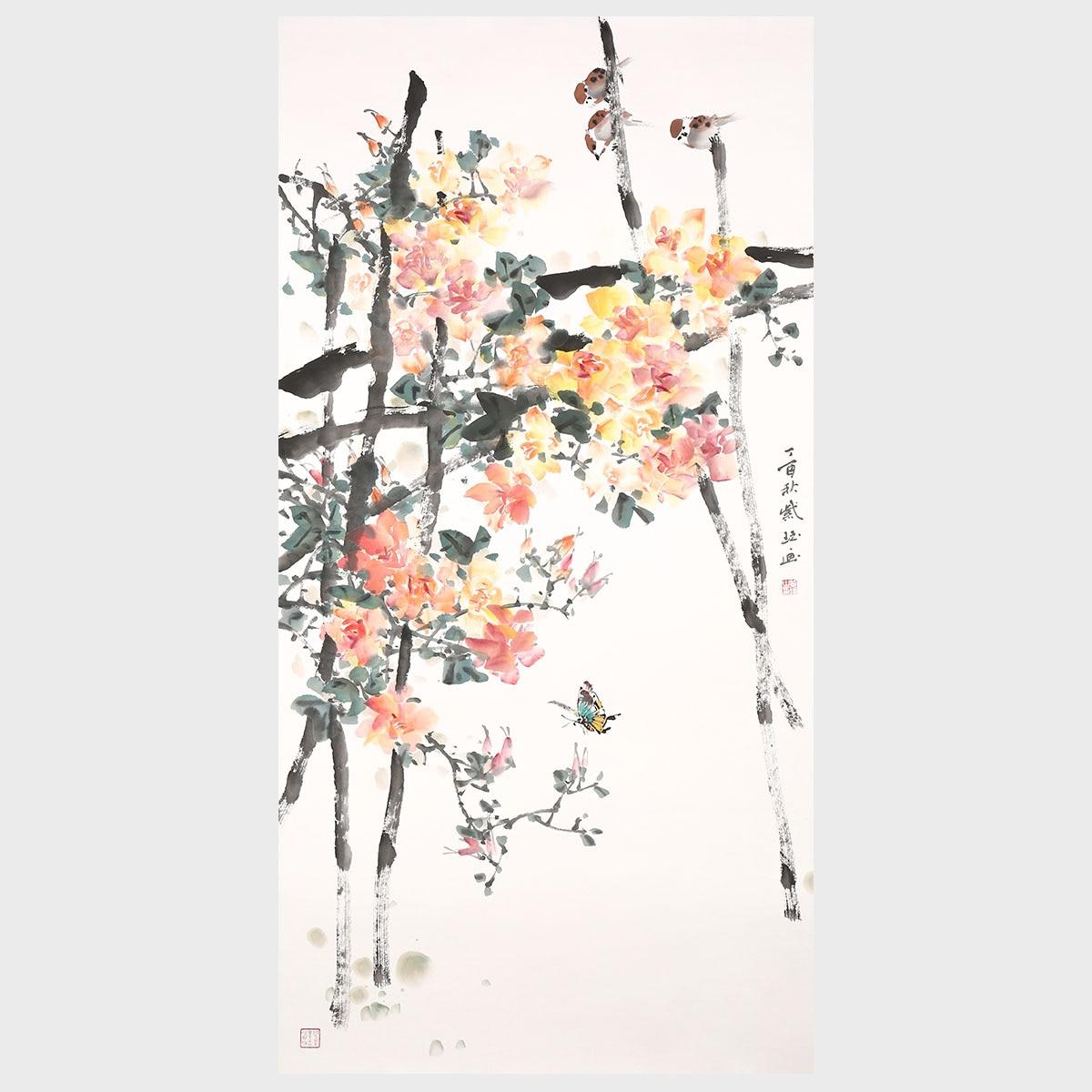 Все прекрасно круглый год цветок и птица живопись оригинальная ручная работа картина художественное оформление стены Декор