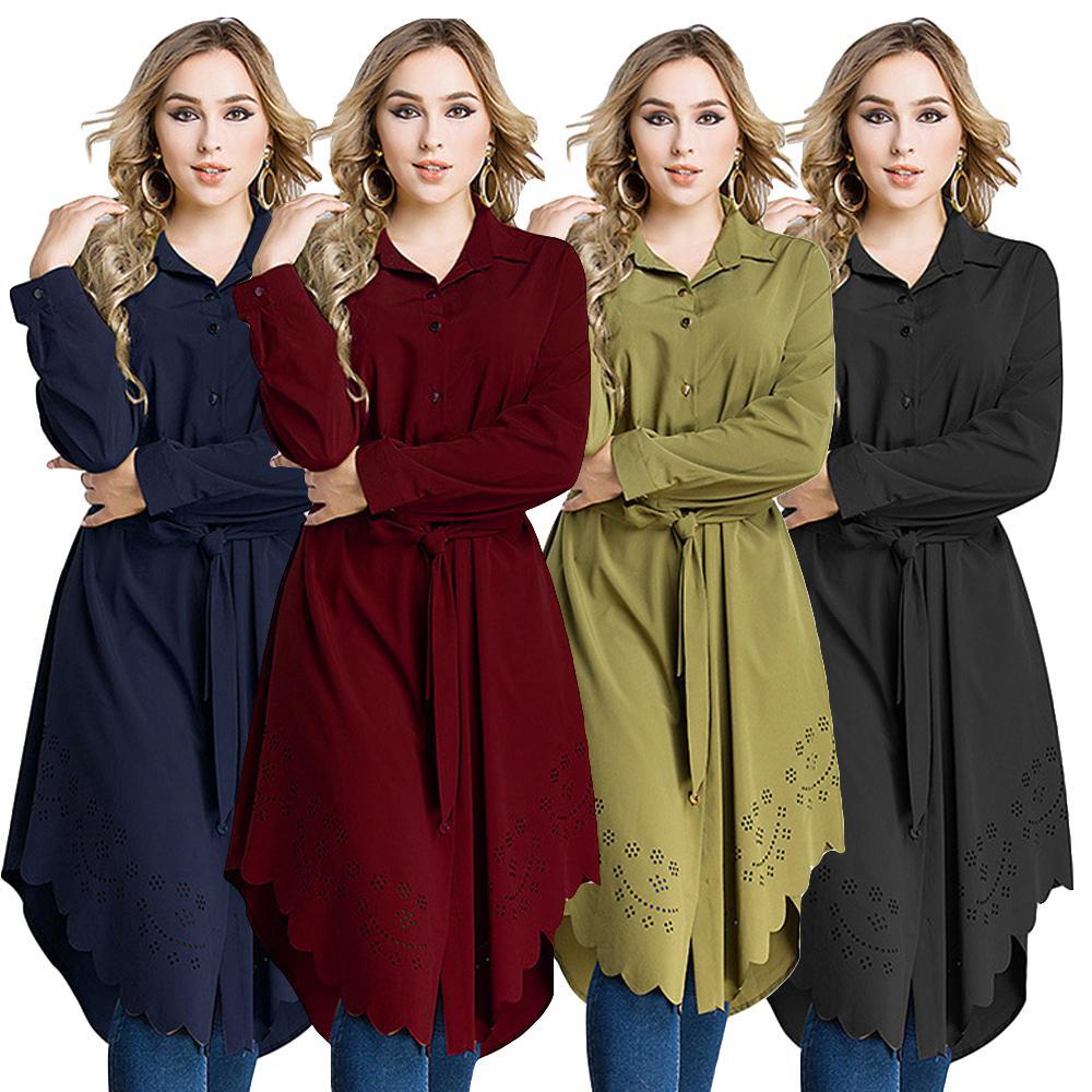 Female Long Sleeve Tops Shirt Muslim Womens Shirt Dress Islamic Clothing Blouse Abaya Plus Size Casual Loose Style Tunic Ramadan