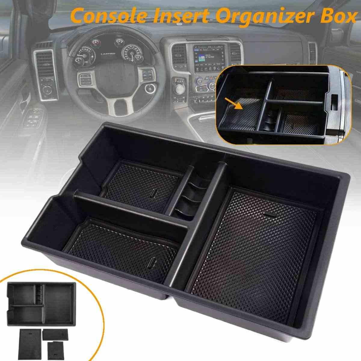 For Dodge RAM 1500 2009-2018 Car Center Console Storage Organizer Tray Box Black
