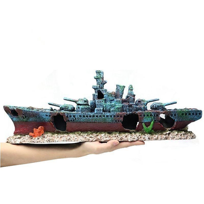 47*9.5*12cm Navy Warship Batttle Ship Resin Boat Aqaurium Tank Fish Decoration Ornament Underwater Ruin Wreck Landscape A9154