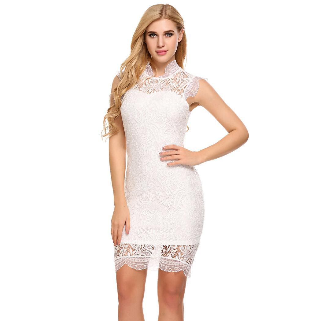 AL'OFA Women Fashion Mini   Cocktail     Dress   O-Neck Sleeveless Lace Floral Pencil   Cocktail     Dresses   Ladies Sexy Slim Party   Dress