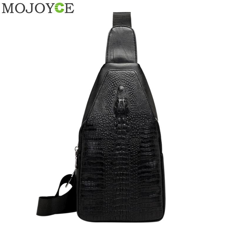 Fashion Men Chest Bag Messenger Bags Leather USB Charging Casual Men's Travel Shoulder Bags Crocodile Pattern Crossbody Bag