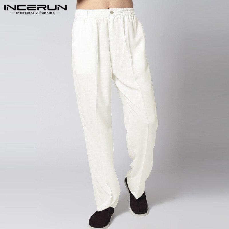 INCERUN Vintage Casual Men Pants Kung Fu Cotton Joggers Workout Trousers Men Plus Size Male Straight Pants Pantalon Hombre S-2XL