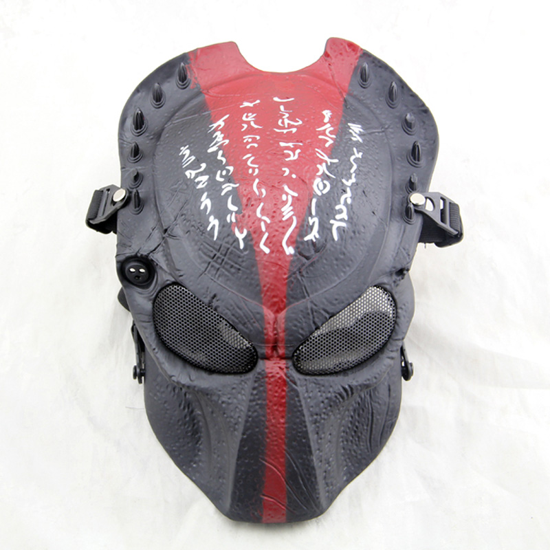 Steelmaster Blood Warrior Cosplay Mask For Adult Black and Red Skull Halloween Party Mask Field CS Mask