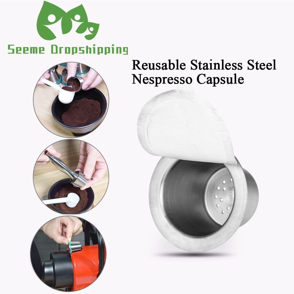 Stainless Steel Refillable Nespresso Pod Tamper Set Reusable Nespresso Machine Coffee Capsule Espresso Coffee Maker Cup Filters in Coffee Filters from Home Garden