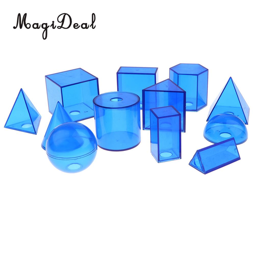 12 Pieces Plastic Geometric Solids - 3D Geometry Exploring Volume Shape Visual Aids Mathematics Math Educational Student Toy